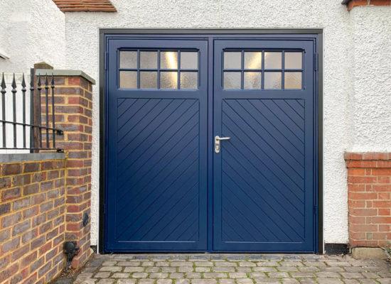 Garador Ashton 50:50 Side Hinged Garage Doors in Steel Blue