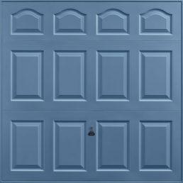 Cathedral garage door pigeon blue