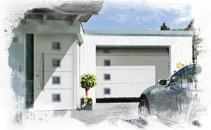 Hormann front door with matching sectional garage door