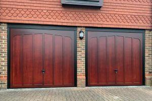 Cardale Tudor Cedarwood Canopy Garage Doors